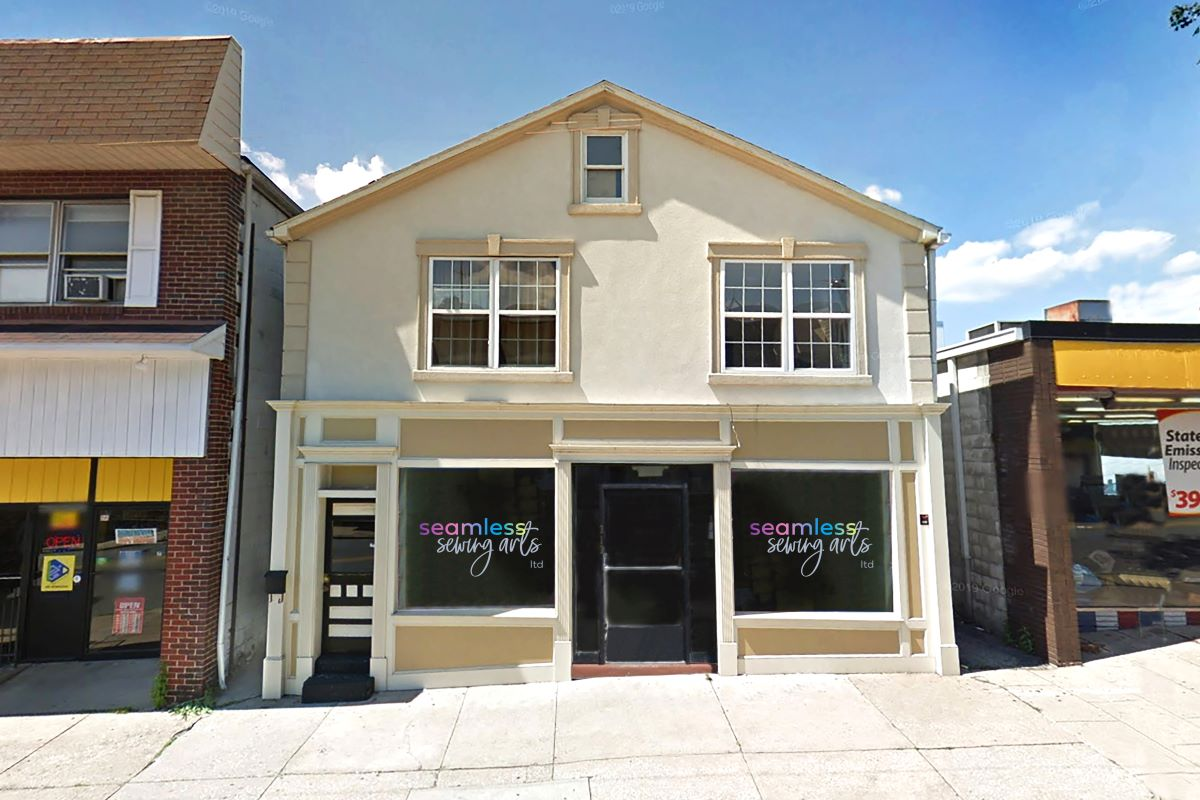 Retail Store Front with large windows along Bridge Street in Phoenixville